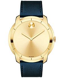 Movado Men's Swiss Bold Navy Leather Strap Watch 44mm