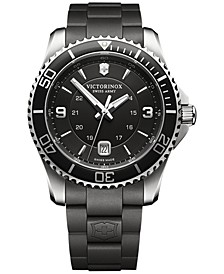 Men's Maverick Black Rubber Strap Watch 43mm