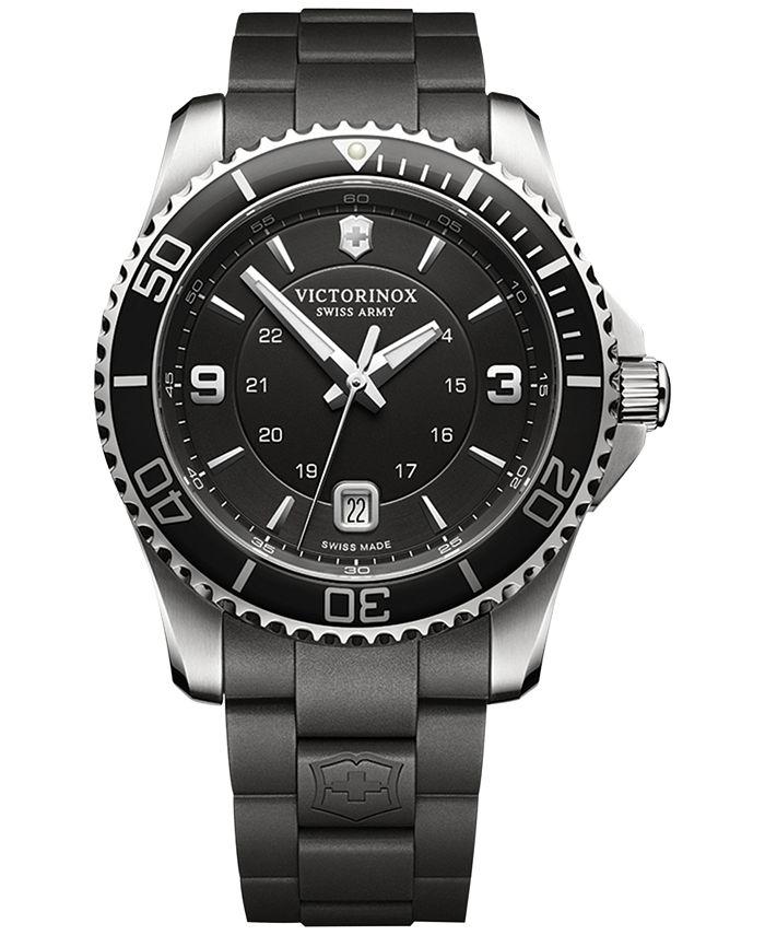 Victorinox Swiss Army - Men's Maverick Black Rubber Strap Watch 43mm