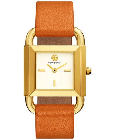 Tory Burch Women's Phipps Liliam Orange Leather Strap Watch 29x41mm