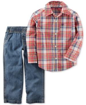 Carters 2Pc Plaid Shirt  Jeans Set Toddler Boys (2T5T)