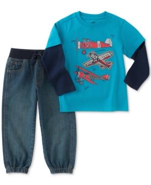 Kids Headquarters 2Pc Airplane GraphicPrint Shirt  Jogger Pants Set Toddler Boys (2T5T)