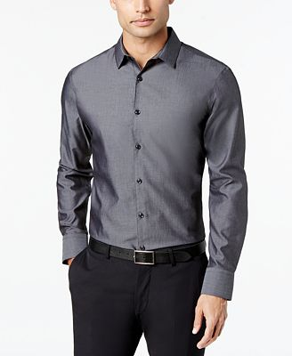 I.N.C. Men's Non-Iron Shirt, Created for Macy's - Casual Button ...
