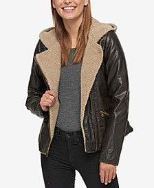 Faux-Leather Hooded Moto Jacket