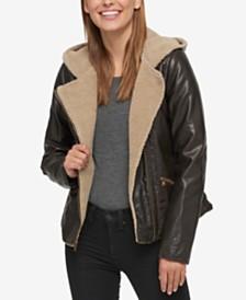 Levi's® Faux-Leather Hooded Moto Jacket