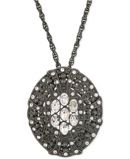 2028 Black-Tone Crystal Disc Pendant Necklace