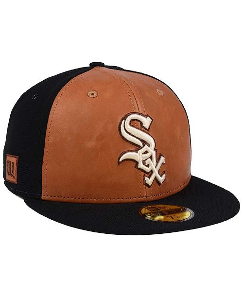 7a77357020a ... New Era Chicago White Sox X Wilson Leather Front 59FIFTY Fitted Cap ...