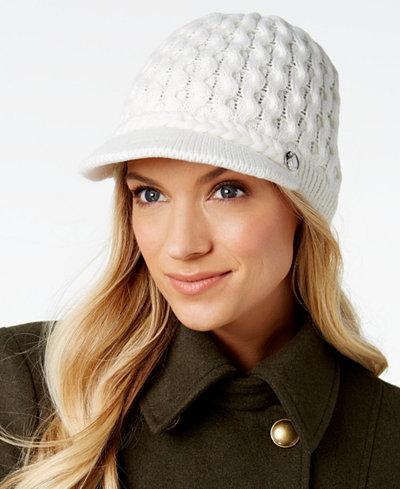 Calvin Klein Honeycomb Cable-Knit Newsboy Cap