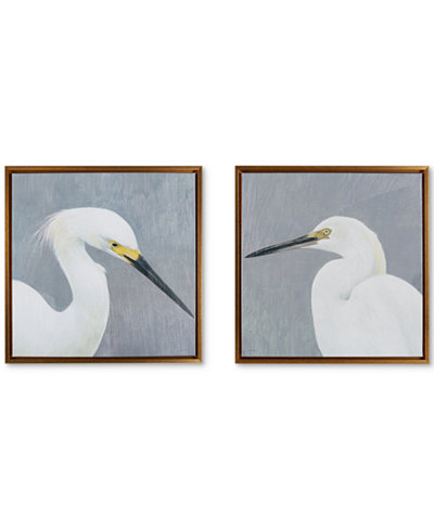 JLA Seabird Thoughts Heavy Gel Coat Canvas With Gold Frame (Set of 2), Quick Ship