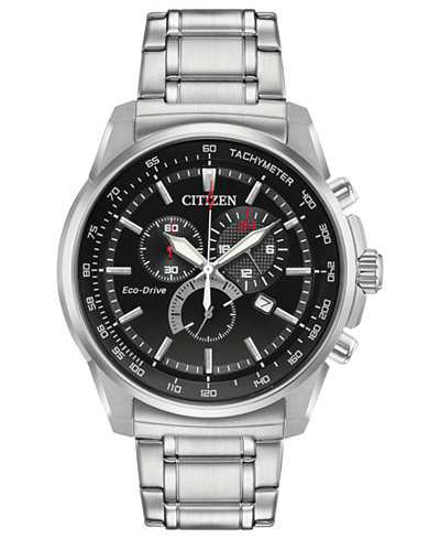 Citizen Eco-Drive Men's Stainless Steel Bracelet Watch 44mm, Created for Macy's