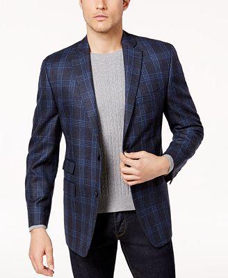 Michael Kors Men's Classic-Fit Blue & Green Plaid Sport Coat ...