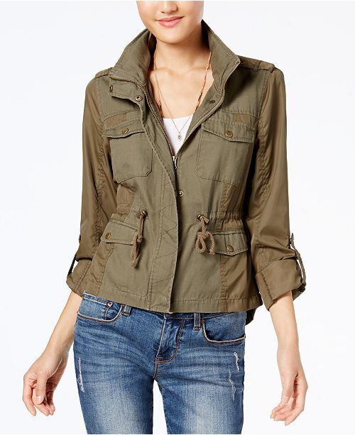 American Rag Juniors' Mixed-Media Military Parka, Created for Macy's