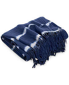 CLOSEOUT! Lucky Brand Shibori Hand Tie-Dye Throw, Created for Macy's