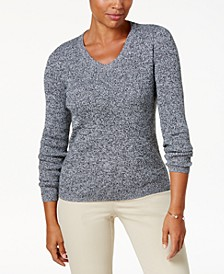 Petite Cotton Ribbed Marled Sweater, Created for Macy's
