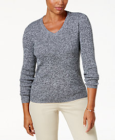 Karen Scott Cotton Ribbed Sweater, Created for Macy's