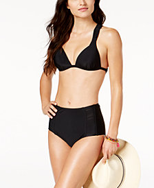 Hula Honey Juniors' Push-Up Halter Bikini Top  & High-Waist Bottoms, Created for Macy's , Available in D/DD