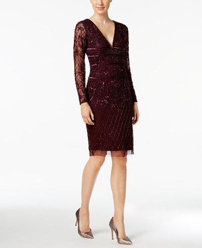 Adrianna Papell V-Neck Beaded Dress