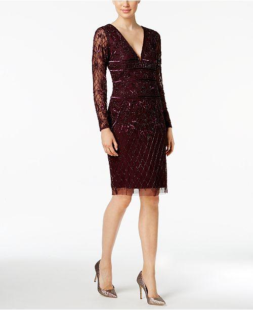 7da7a029b1 Adrianna Papell V-Neck Beaded Dress - Dresses - Women - Macy s
