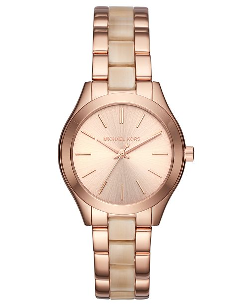 7af2d67a3c2a ... Michael Kors Women s Mini Slim Runway Rose Gold-Tone Stainless Steel    Champagne Acetate Bracelet ...