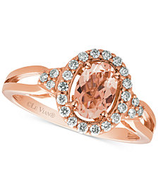 Le Vian® Peach Morganite™ (1/2 ct. t.w.) & Diamond (1/5 ct. t.w.) Ring in 14k Rose Gold
