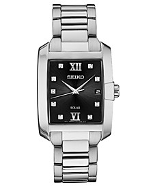 Men's Solar Dress Sport Diamond-Accent Stainless Steel Bracelet Watch 34mm
