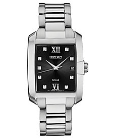 Seiko Men's Solar Dress Sport Diamond-Accent Stainless Steel Bracelet Watch 34mm