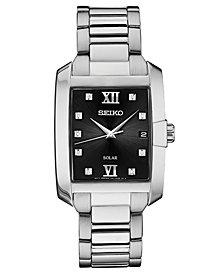 Seiko Men's Solar Dress Sport Diamond-Accent Stainless Steel Bracelet Watch 34mm
