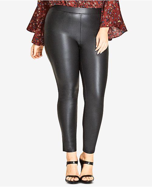 021d2e7b96b City Chic Trendy Plus Size Faux-Leather Leggings   Reviews - Pants ...