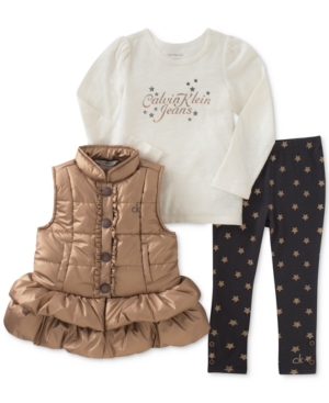 Calvin Klein 3Pc Puffer Vest Top  Leggings Set Baby Girls (024 months)