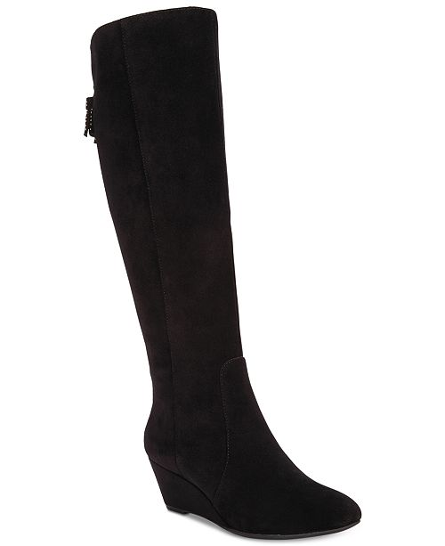 bdb0074e838c Anne Klein Azriel Tall Wedge Boots   Reviews - Boots - Shoes - Macy s