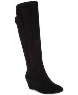 AZRIEL WIDE-CALF WEDGE BOOTS