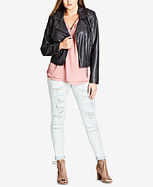 City Chic Trendy Plus Size Faux-Leather Whipstitched Biker Jacket