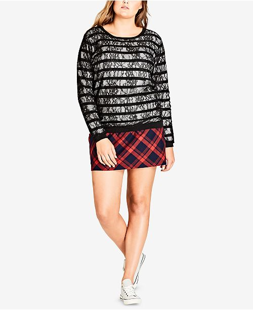 City Chic Trendy Plus Size Lace-Striped Sweater
