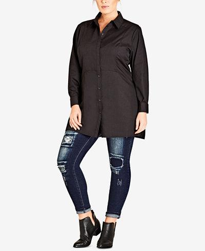 City Chic Trendy Plus Size Crisp Tunic Shirt