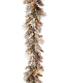 National Tree Company 9' Snowy Bedford Pine Garland  with 70 Warm White LED Lights