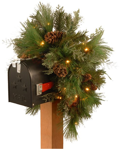 """National Tree Company National Tree 36"""" Decorative Collection White Pine Mailbox Swag with 63 Soft White and Red LED Battery Operated Lights"""