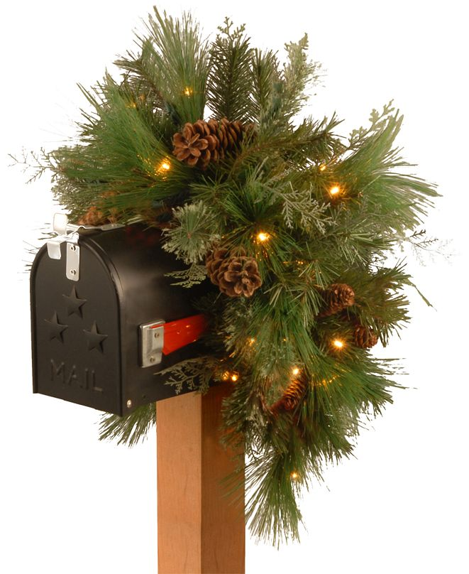 "National Tree Company National Tree 36"" Decorative Collection White Pine Mailbox Swag with 63 Soft White and Red LED Battery Operated Lights"