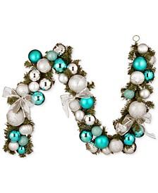 6' Silver-Tone & Blue Mixed Ornament Garland