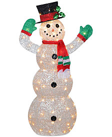 """National Tree Company 48"""" Crystal Snowman With 70 Clear Mini Lights"""