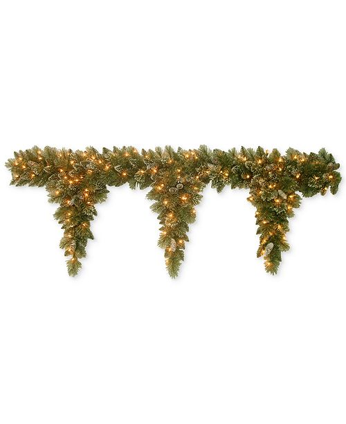National Tree Company 6' Glittery Bristle Pine Teardrop Garland With 3 Drops, Pine Cones & 100 Clear Lights