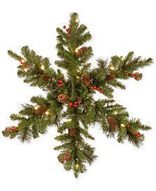 "National Tree Company 32"" Crestwood Spruce Snowflake with 35 White LED Lights"