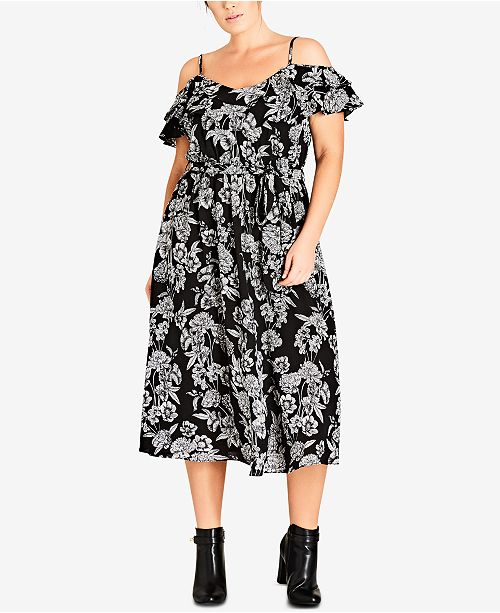 City Chic Trendy Plus Size Bloomsbury Printed Cold-Shoulder Dress