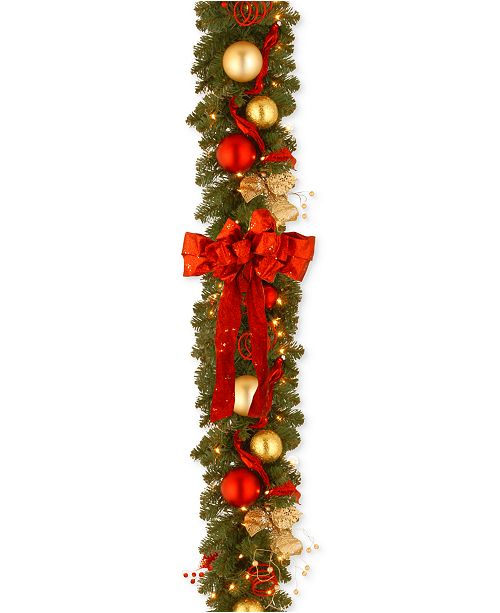 """National Tree Company 9' x 12"""" Decorative Collection Cozy Christmas Garland with 100 Clear Lights"""