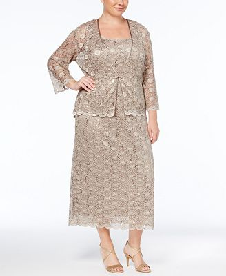 R&M Richards Plus Size Sleeveless Sequined Lace Dress and Jacket ...
