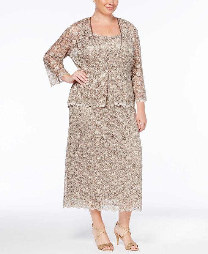 R & M Richards - Plus Size Dress and Jacket, Sleeveless Sequined Lace Sheath