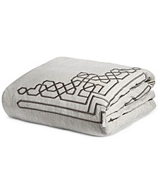 Embroidered Fretwork King Duvet Cover, Created for Macy's