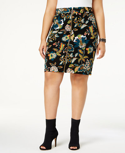 Anna Sui Loves I.N.C. Plus Size Printed Skirt, Created for Macy's