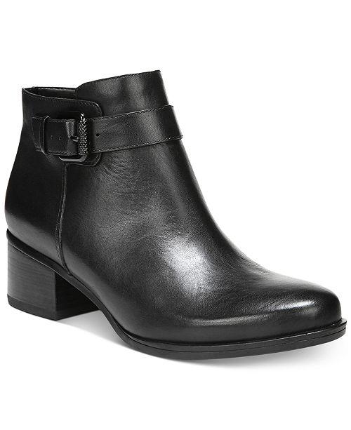 Dora Buckle Detail Block Heel Booties F1fm6NV