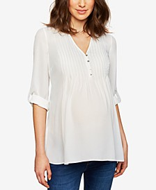 Maternity Button-Front Babydoll Top