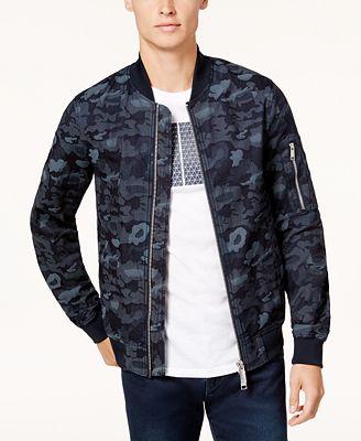 A|X Armani Exchange Men's Camo Bomber Jacket